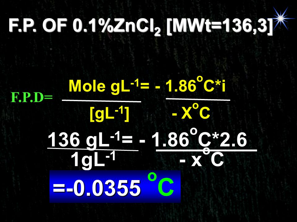 F.P. OF 0.1%ZnCl2 [MWt=136,3] Mole gL-1= - 1.86oC*i. F.P.D= [gL-1] - XoC. 136 gL-1= - 1.86oC*2.6.